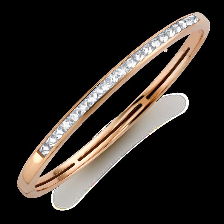 RockChic Diamond Bangle 1.80CT in Rose Gold Princess Cut, Channel Set_2