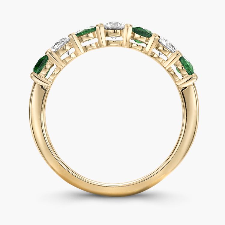 Emerald and Diamond Seven-Stone Ring 1.03CT in 18CT Yellow Gold Brilliant Cut, Seven-Stone, Claw Set_3