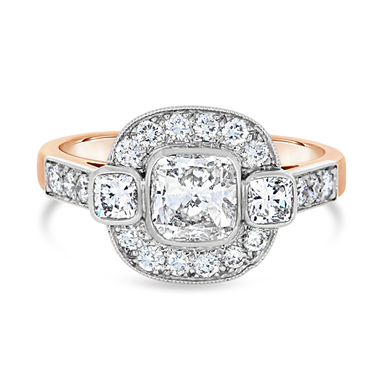 Cushion Cut Diamond Ring<br /> 0.90CT in Rose Gold & Platinum