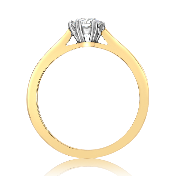 Windsor Diamond Ring<br /> 0.90CT in Yellow Gold and Platinum