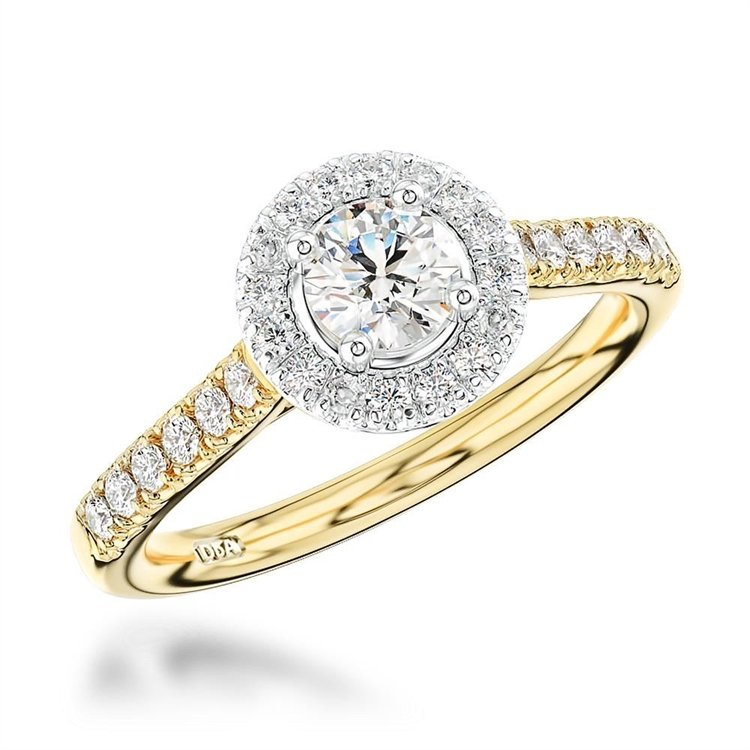 Celestial Diamond Ring<br /> 0.35CT in Yellow Gold and Platinum