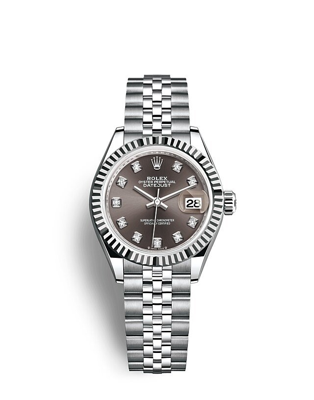 Lady-Datejust Oyster, 28 mm, Oystersteel and white gold