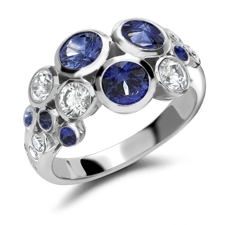 Bubbles Blue Sapphire and Diamond Dress Ring 2.62CT in White Gold