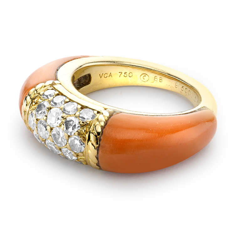 Van Cleef & Arpels Coral and Diamond Philippine Ring in 18ct Yellow Gold Brilliant cut, Claw set_5