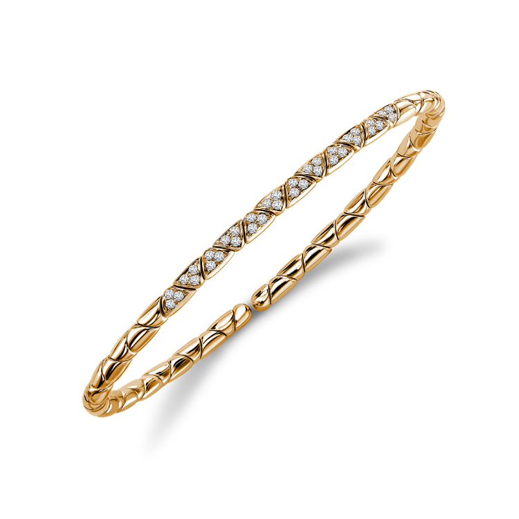 Groove Diamond Textured Bangle 0.36CT in Rose Gold Brilliant Cut, Pavé Set_2