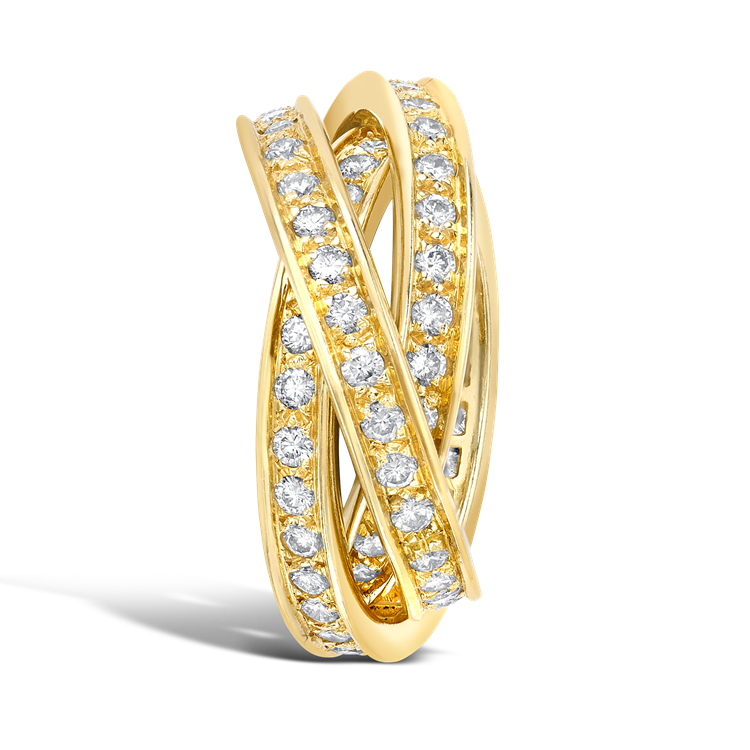 Contemporary Cartier Trinity Ring 1.80CT in Yellow Gold Brilliant Cut Diamond Band Ring_4