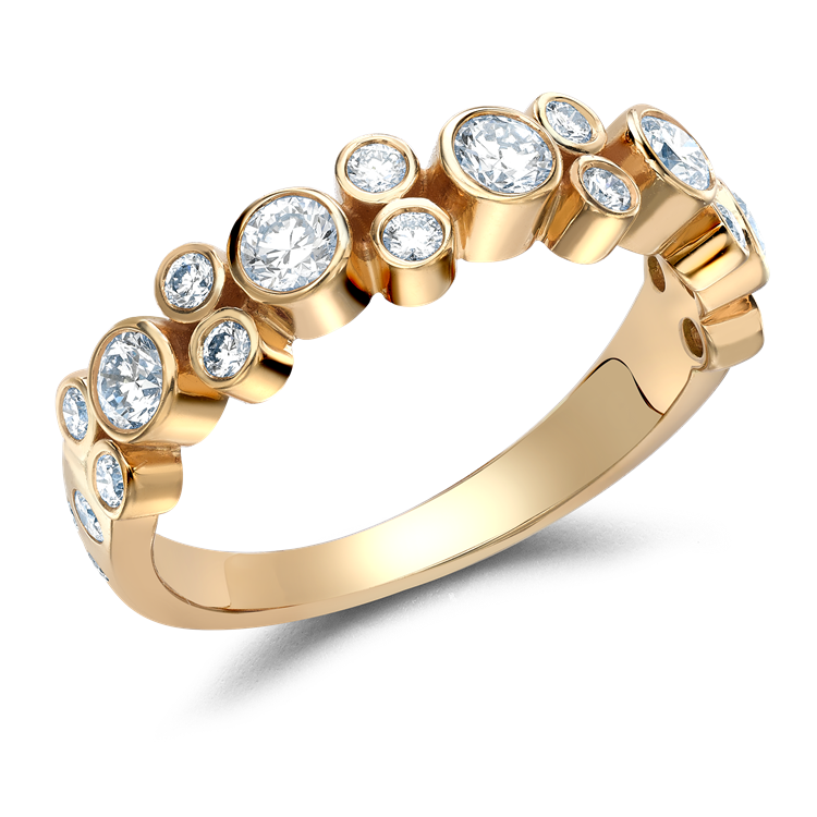 Bubbles Half-Eternity Diamond Ring 0.77CT in Rose Gold