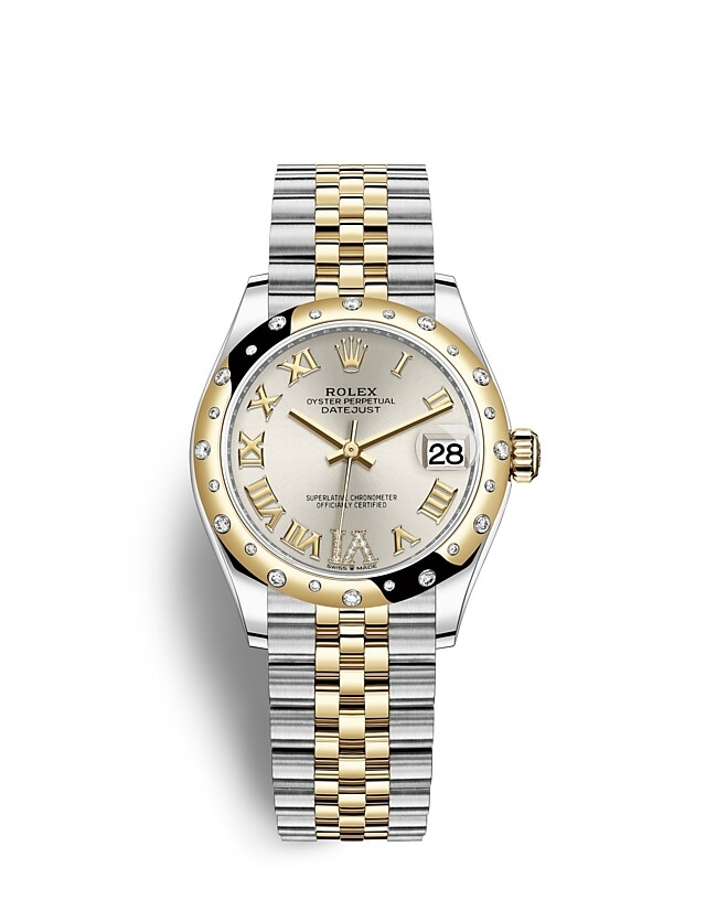 Datejust 31 Oyster, 31 mm, Oystersteel, yellow gold and diamonds
