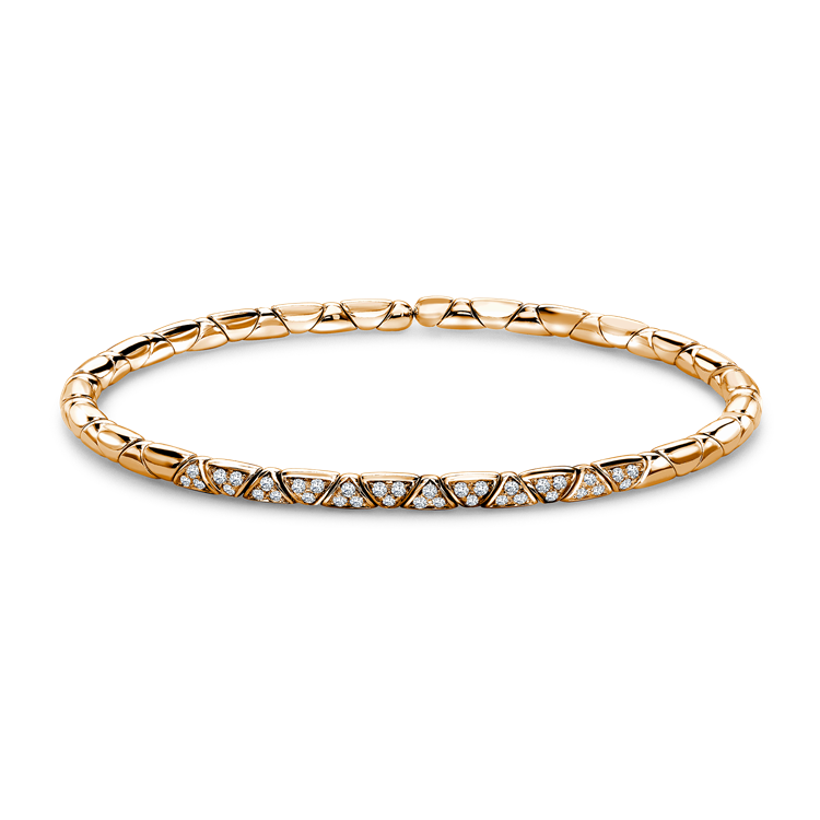 Groove Diamond Textured Bangle 0.36CT in Rose Gold Brilliant Cut, Pavé Set_1