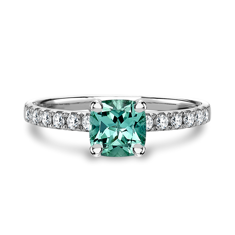 Mint Green Tourrmaline and Diamond Ring  1.21ct in White Gold
