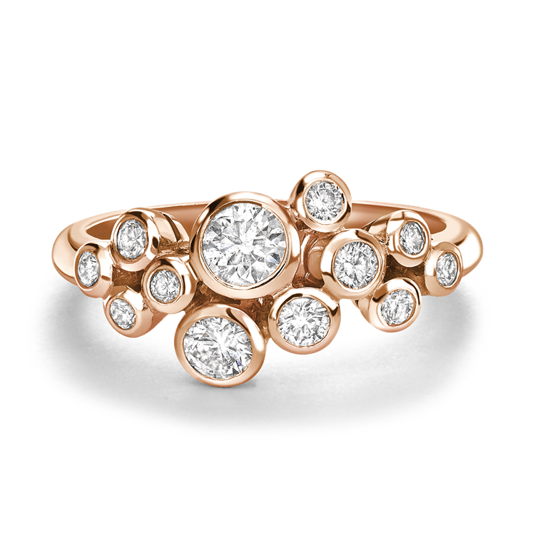 Bubbles Diamond Dress Ring 0.65CT in Rose Gold