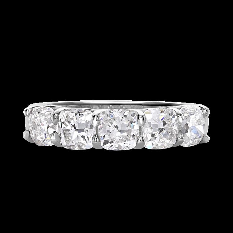 Cushion Cut Diamond Five-Stone Ring<br /> 2.59CT in Platinum
