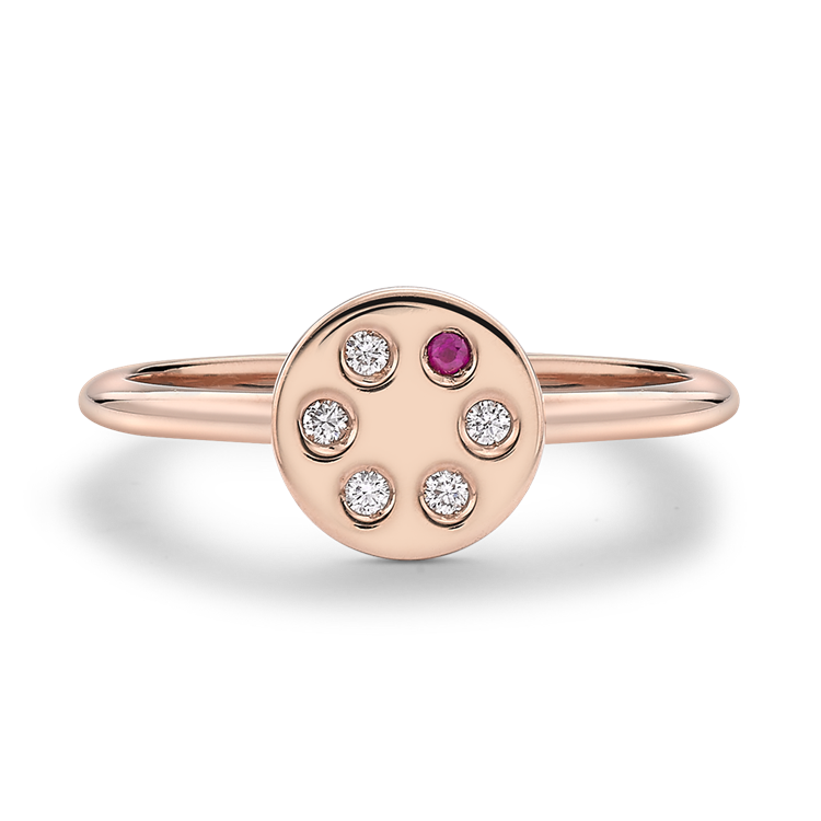 Ruby and Diamond Russian Roulette Ring  0.05 in Rose Gold Brilliant Cut, Rub Over Set_1