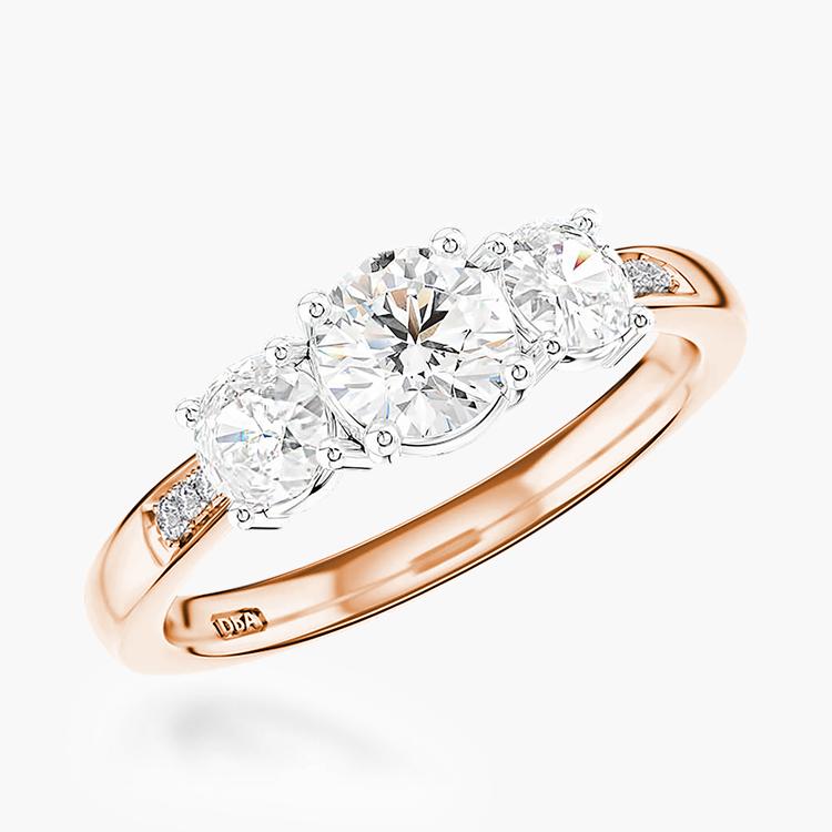 0.81CT Diamond Three-Stone Ring Rose Gold and Platinum Duchess Setting