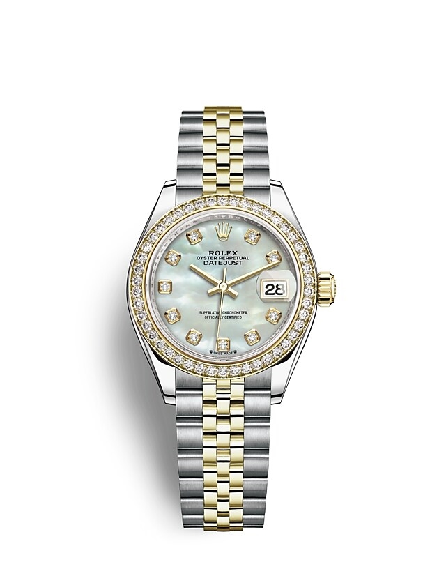 Lady-Datejust Oyster, 28 mm, Oystersteel, yellow gold and diamonds
