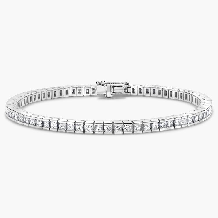 Princess Cut Diamond Line Bracelet 3.35CT in 18CT White Gold Princess Cut, Channel Set_1