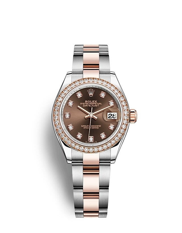 Lady-Datejust Oyster, 28 mm, Oystersteel, Everose gold and diamonds