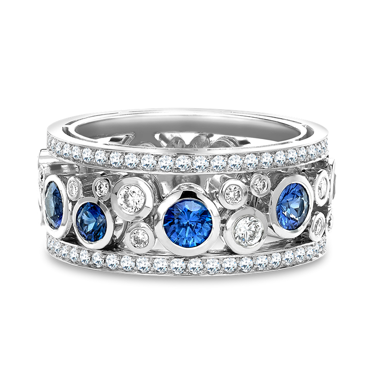 Bubbles Blue Sapphire and Diamond Dress Ring 1.64CT in White Gold