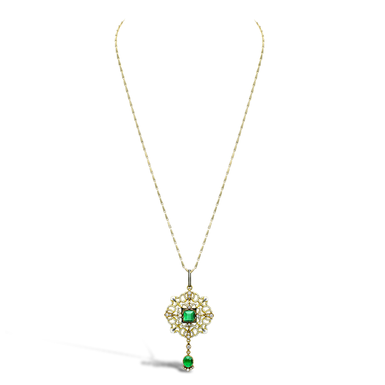 Carlo & Arthur Giuliano Yellow Gold, Emerald and Diamond Enamel Pendant Square, Oval & Brilliant Cut, Claw Set_2