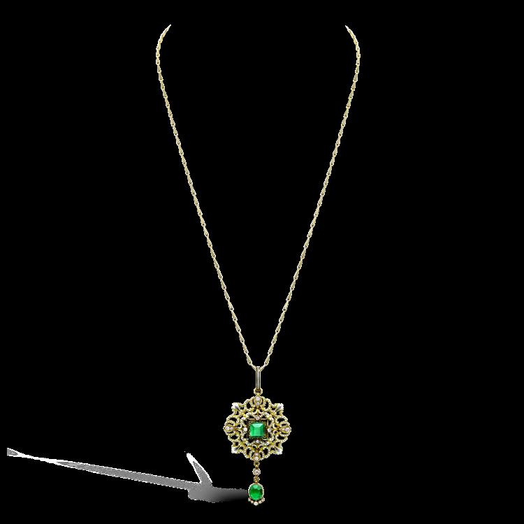 Carlo & Arthur Giuliano Yellow Gold, Emerald and Diamond Enamel Pendant Square, Oval & Brilliant Cut, Claw Set_2