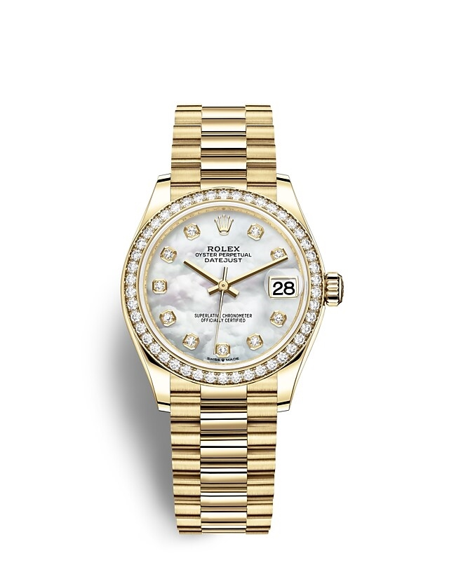Datejust 31 Oyster, 31 mm, yellow gold and diamonds