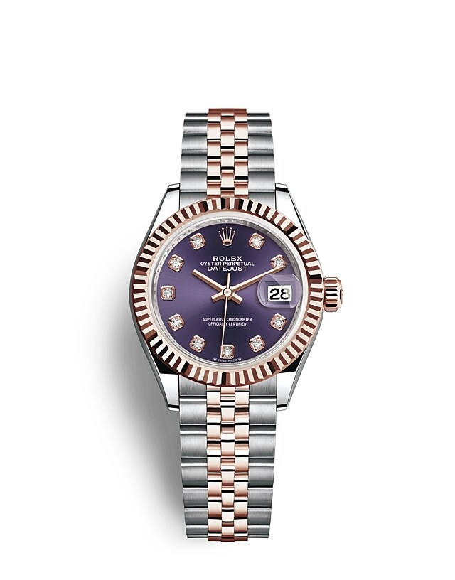 Lady-Datejust Oyster, 28 mm, Oystersteel and Everose gold
