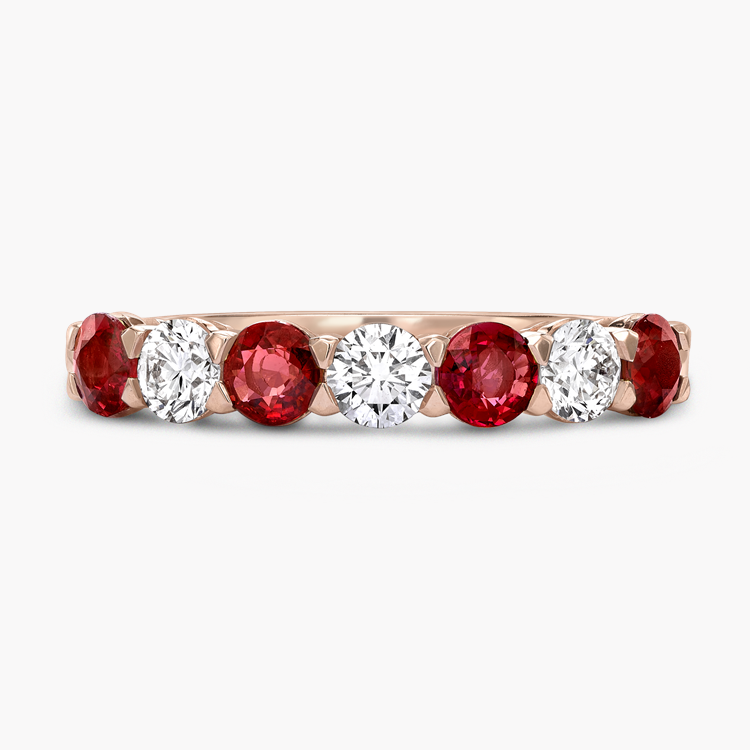 Ruby and Diamond Seven-Stone Ring 1.24CT in 18CT Rose Gold Brilliant Cut, Seven-Stone, Claw Set_2