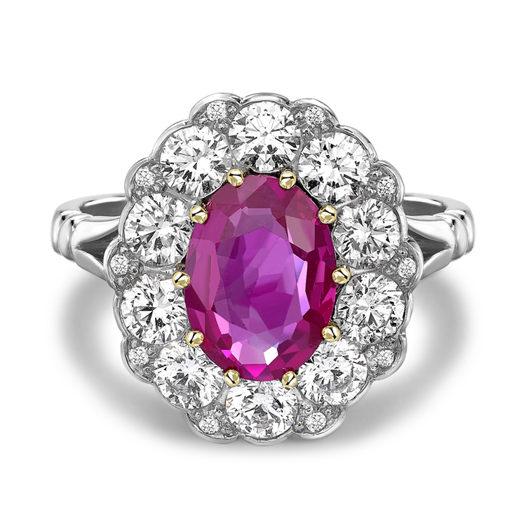 Contemporary Burmese Pink Sapphire Ring 1.66CT in Platinum