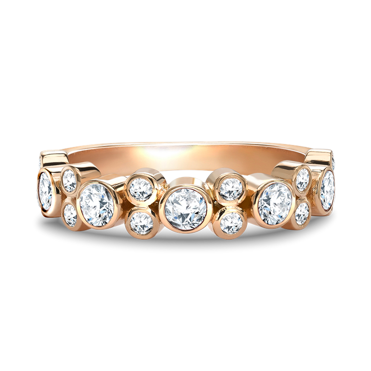 Bubbles Half-Eternity Diamond Ring 0.77CT in Rose Gold Brilliant Cut, Rubover Set_4