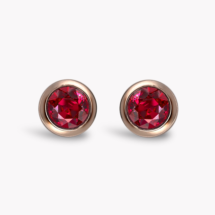 Sundance Ruby Stud Earrings 0.43CT in 18CT Rose Gold Brilliant Cut, Rubover Set_1