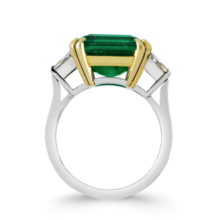 Masterpiece Trap Cut Colombian Emerald Ring<br /> 8.04CT in Yellow Gold & Platinum