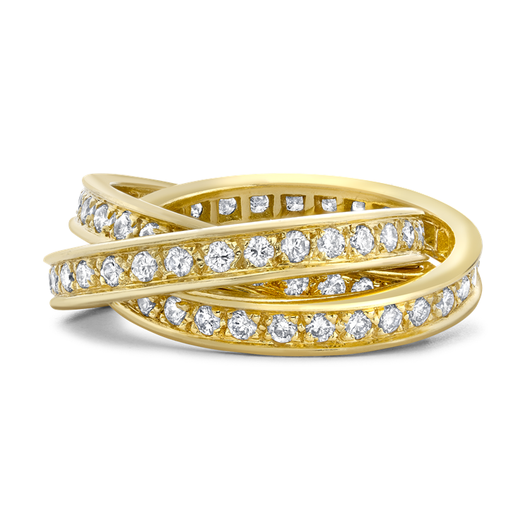 Contemporary Cartier Trinity Ring 1.80CT in Yellow Gold Brilliant Cut Diamond Band Ring_2
