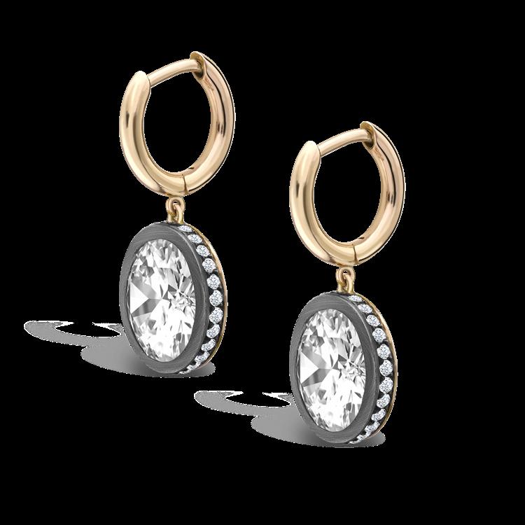 Diamond Drop Hoop Earrings 7.21CT in Rose Gold & Silver Old European cut, Brilliant Cut Diamond Surround_3