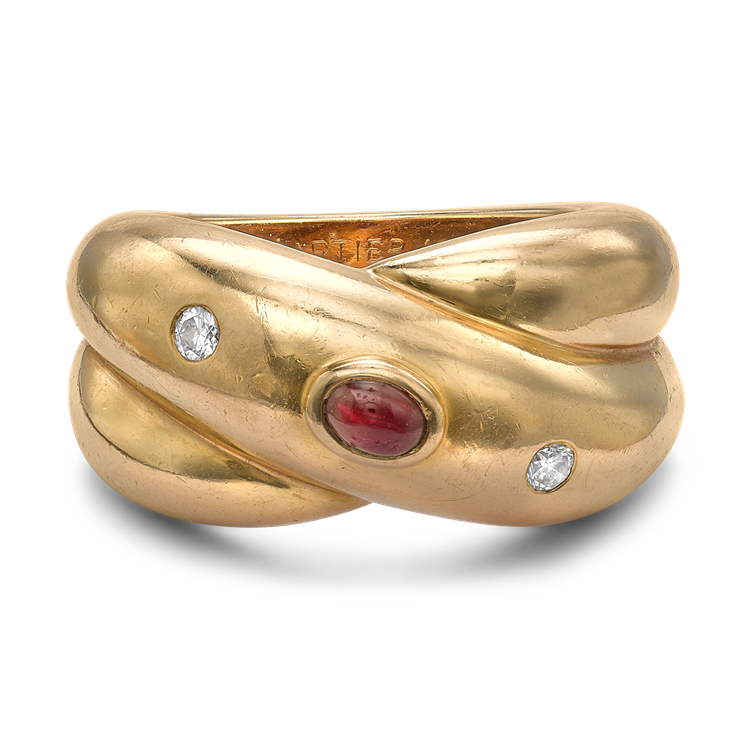 Present Day Cartier Ruby & Diamond Ring<br /> in Yellow Gold