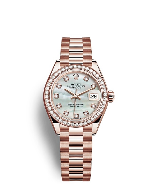 Lady-Datejust Oyster, 28 mm, Everose gold and diamonds