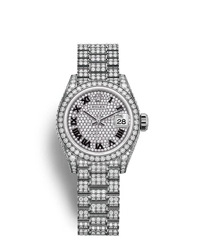 Lady-Datejust Oyster, 28 mm, white gold and diamonds