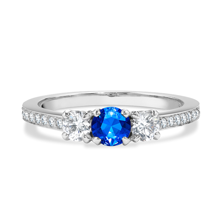 Sapphire and Diamond Three Stone Ring <br /> in Platinum