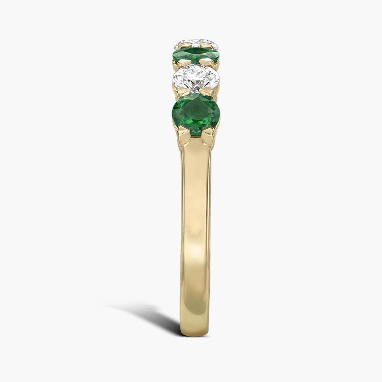 Emerald and Diamond Seven-Stone Ring 1.03CT in 18CT Yellow Gold Brilliant Cut, Seven-Stone, Claw Set_4
