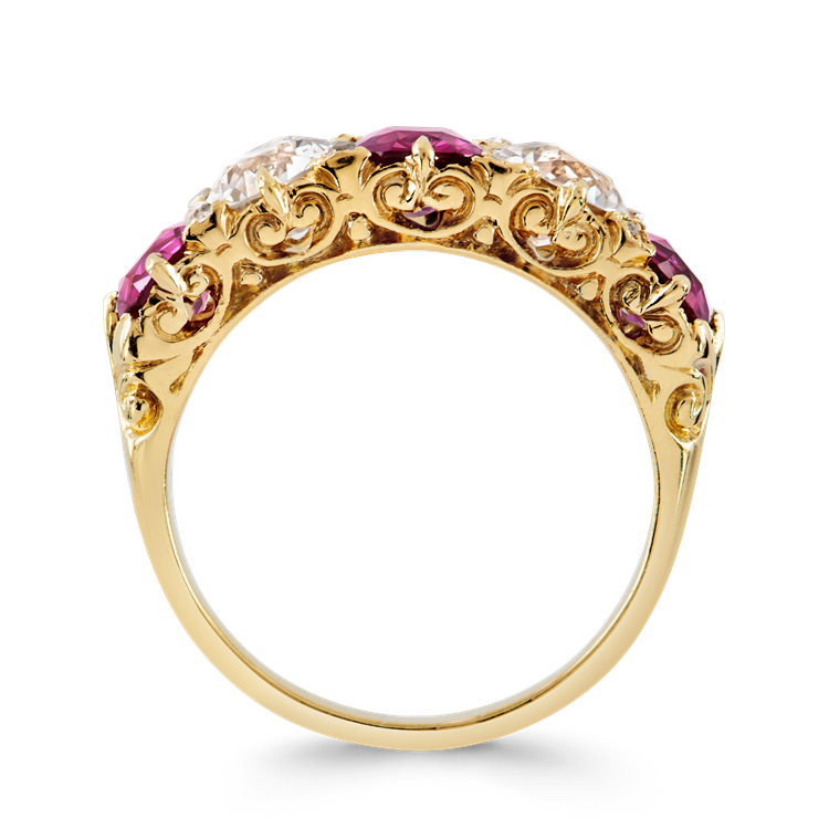 Victorian Burmese Ruby and Diamond Ring  3.70CT in Yellow Gold Cushion Cut Five Stone Ring_3