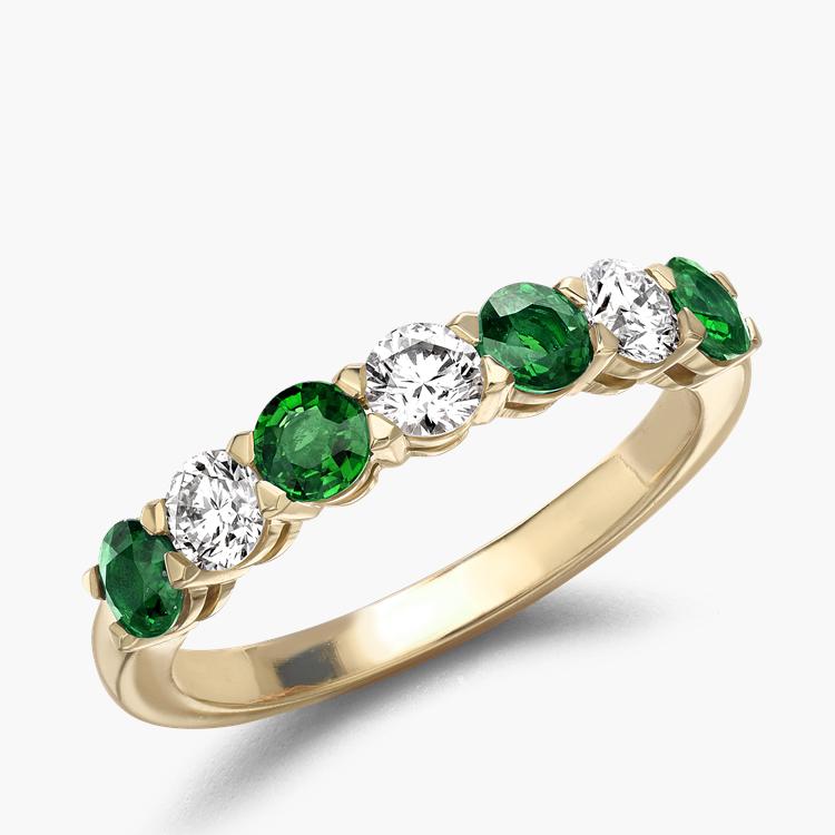 Emerald and Diamond Seven-Stone Ring 1.03CT in 18CT Yellow Gold Brilliant Cut, Seven-Stone, Claw Set_1