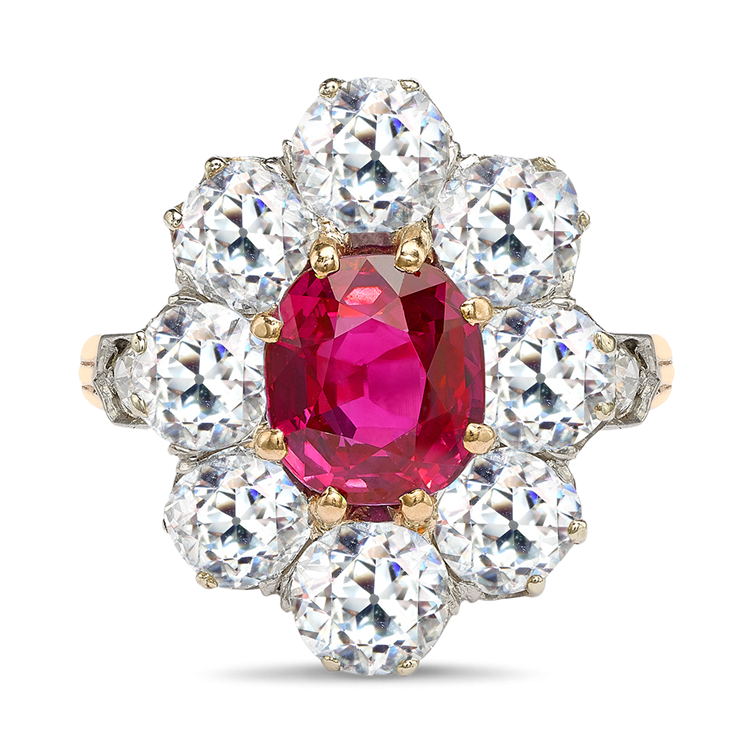 Victorian Burmese Ruby Ring 2.60CT in Yellow & White Gold