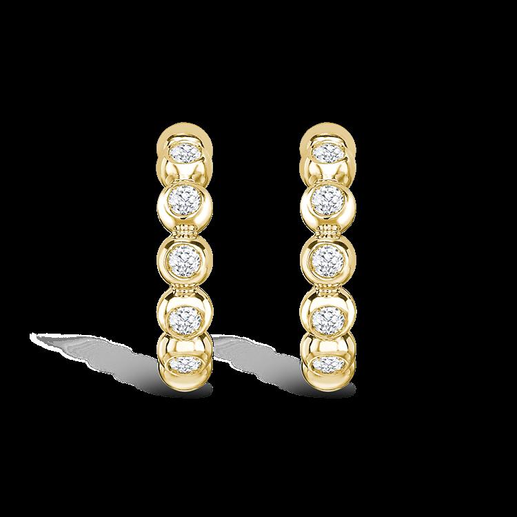 Bohemia Diamond Hoop Earrings 0.27CT in 18CT Yellow Gold