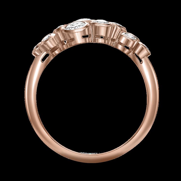 Bubbles Diamond Dress Ring 0.65CT in Rose Gold Brilliant Cut, Rubover Set_2