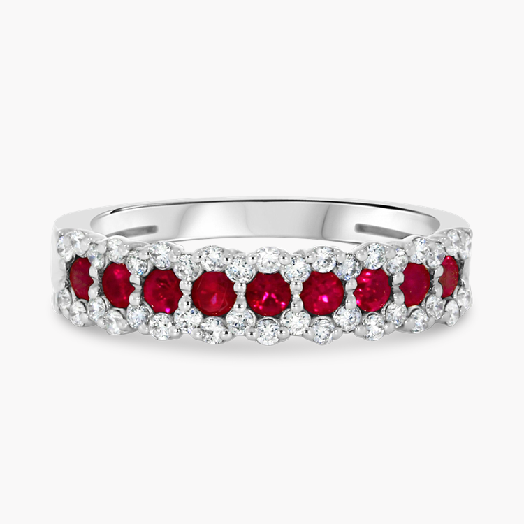 Ruby and Diamond Eternity Ring 0.86CT in 18CT White Gold