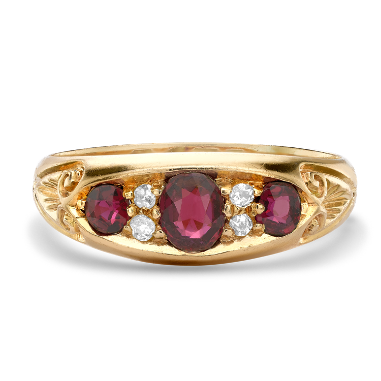 Belle Epoque Ruby Ring<br /> 0.78CT in Yellow Gold