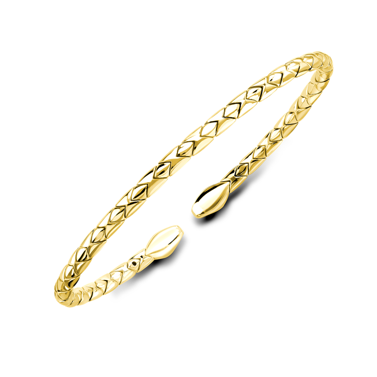 Groove Textured Bangle in 18CT Yellow Gold Brilliant Cut, Set_2