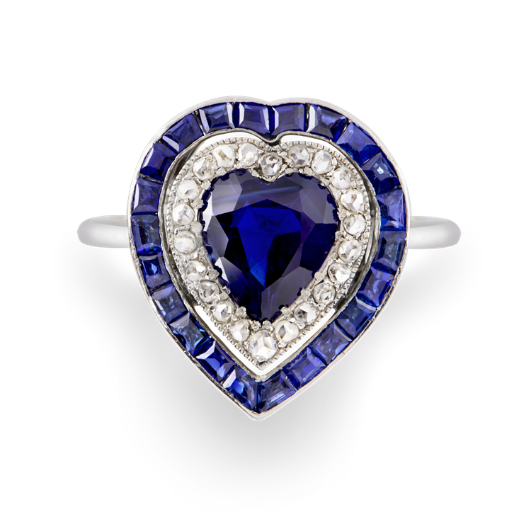 Art Deco Sapphire Heart Ring  1.87CT in Platinum Heart Shape Target Ring, with Double Halo_2