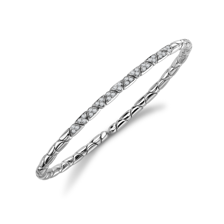 Groove Diamond Textured Bangle 0.36CT in White Gold Brilliant Cut, Pavé Set_2