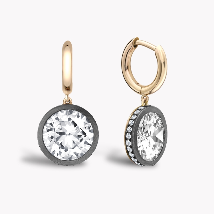 Diamond Drop Hoop Earrings 7.21CT in Rose Gold & Silver Old European cut, Brilliant Cut Diamond Surround_1