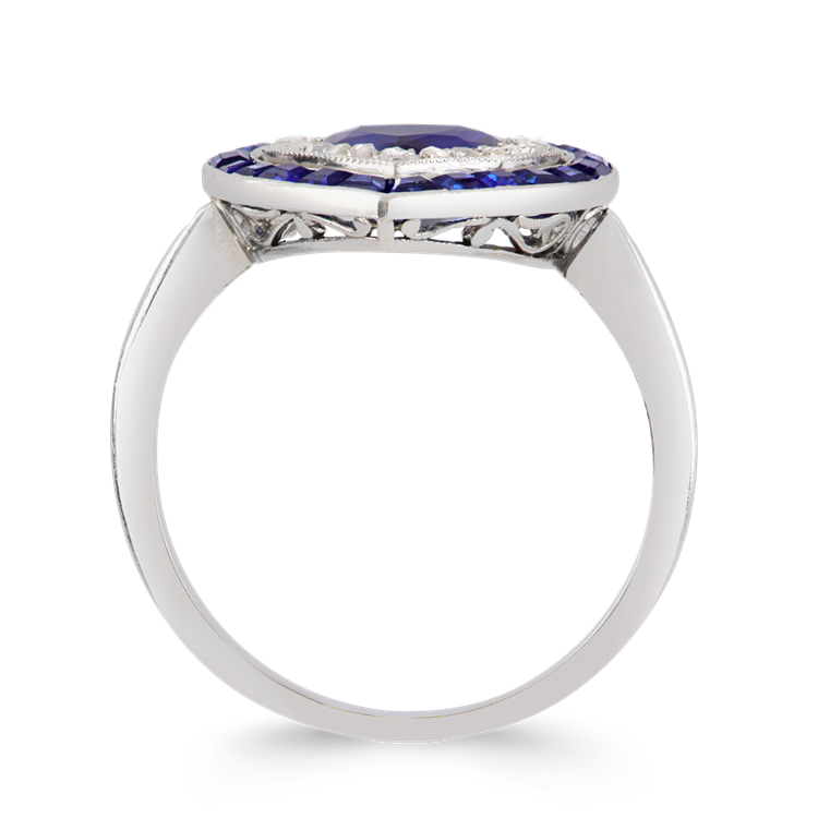 Art Deco Sapphire Heart Ring  1.87CT in Platinum Heart Shape Target Ring, with Double Halo_3